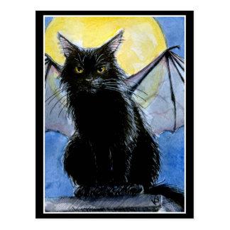 Carte postale de gargouille de chat noir de