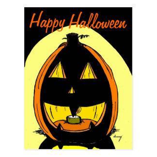 "Carte postale ""de Halloween heureux"" de lanterne"