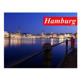 Carte postale de Hambourg - Binnenalster heure