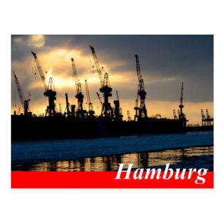 Carte postale de Hambourg - port coucher du soleil