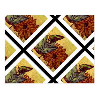 Carte postale de jaune jaune canari et de noir