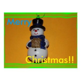 CARTE POSTALE de Joyeux Noël de bonhomme de neige