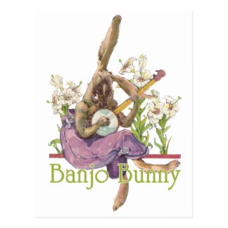Carte postale de lapin de banjo