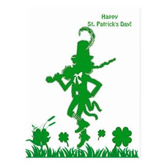 Carte postale de lutin du jour de St Patrick