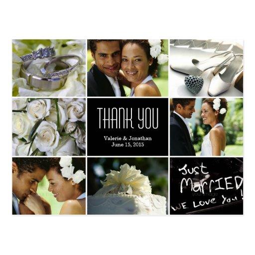 Carte postale de Merci de collage de mariage