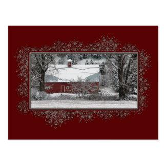 Carte postale de Noël de grange de pays d'affaires