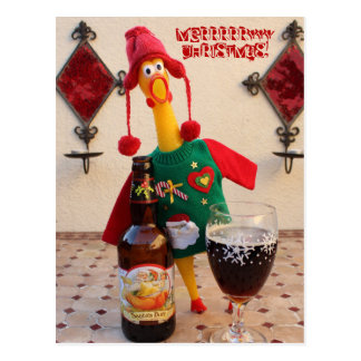 Carte postale de Noël de poulet d'amusement !