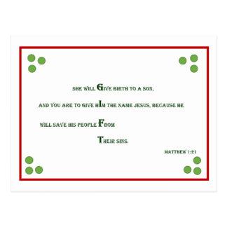Carte postale de Noël de vers de bible - 1h21 de