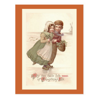 """Carte postale de patinage de Noël """"d'enfants"""