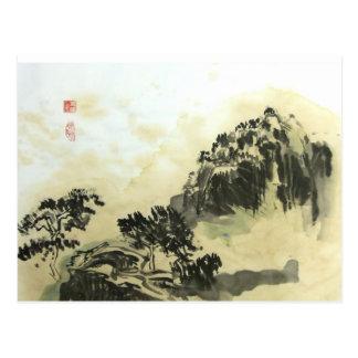 Carte postale de paysage de lavage de thé