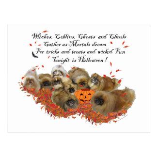 Carte postale de Pekingese Halloween