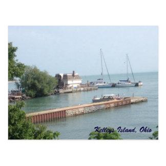 Carte postale de photo de bateaux d'île de Kelleys