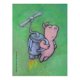 carte postale de porc de fusée