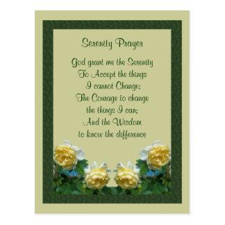 Carte postale de prière de sérénité de roses