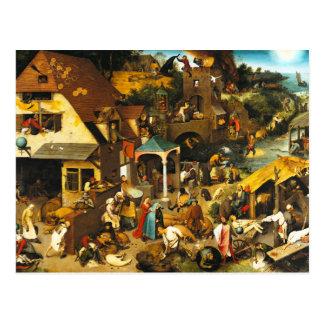 Carte postale de proverbes de Pieter Bruegel