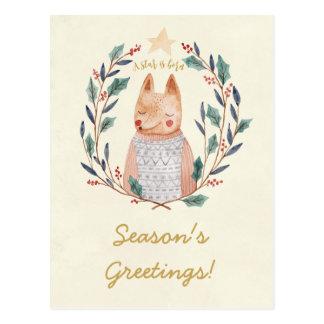 Carte postale de renard de guirlande de houx de