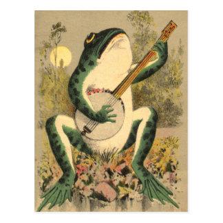 Carte postale de sérénade de grenouille
