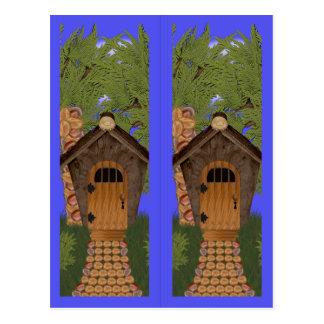 Carte postale de signets d'arbres de cottage et de