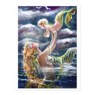 Carte postale de sirène et d'enfant