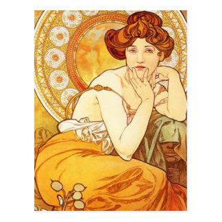 Carte postale de topaze d'Alphonse Mucha