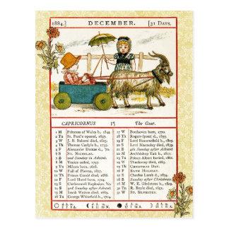 Carte Postale Décembre 1884 almanach.  Capricorne, la chèvre