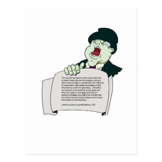 Carte Postale Déclaration d'Andrew Jackson de vendeur de Mega