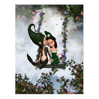 Carte postale d'elfes d'amour, paire mignonne