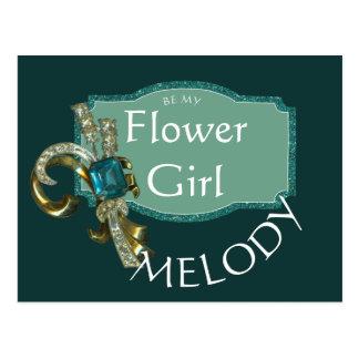 Carte Postale Demoiselle de honneur impeccable de bijou de vert