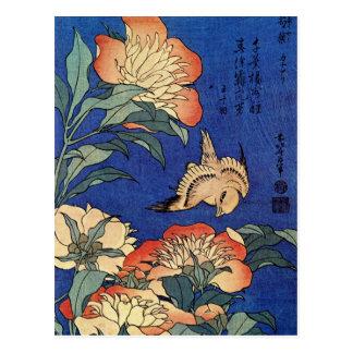 """Carte postale des """"fleurs"""" de Hokusai"""