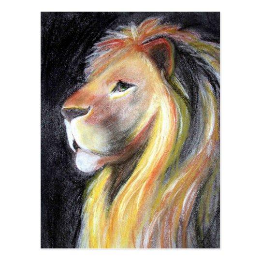 Carte Postale Dessin De Fusain De Portrait De Lion De Profil De