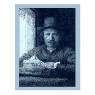 Carte Postale Dessin de Rembrandt à une fenêtre