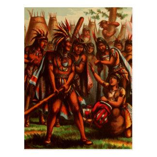 Carte Postale Dessin vintage : Pocahontas, princesse indienne