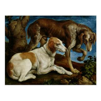 Carte Postale Deux chiens de chasse attachés à un tronçon