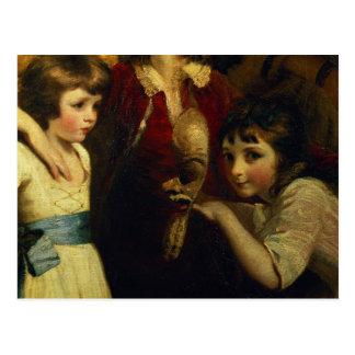 Carte Postale Deux filles, on jouant avec un masque, détail de