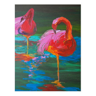 Carte Postale Deux flamants roses sur le lac vert (art de