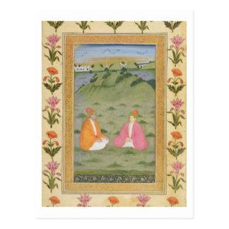 Carte Postale Deux nobles assis dans un paysage, du petit C
