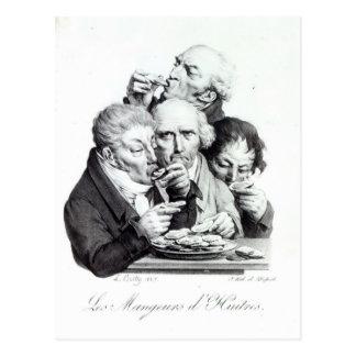 Carte Postale d'Huitres de Les Mangeurs, 1825