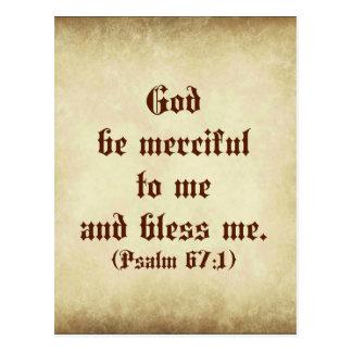 Carte Postale Dieu de bible de psaume soit compatissant à moi et