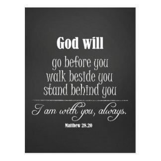 Carte Postale Dieu inspiré citera avec le vers de bible