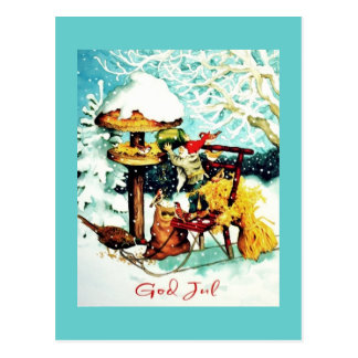 "Carte Postale ""Dieu juillet !"" Nisse alimente de petits oiseaux"