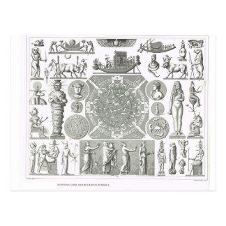 Carte Postale Dieux égyptiens et symboles religieux