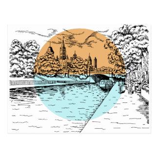 Carte postale d'illustration d'Ottawa Canada