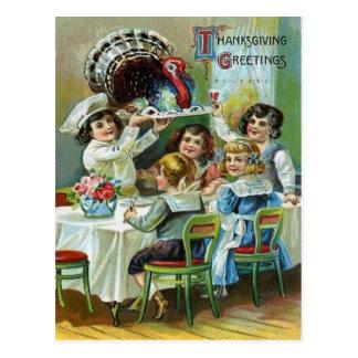 Carte Postale Dîner du thanksgiving des enfants