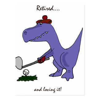 Carte Postale Dinosaure retiré drôle Gofing de T-Rex