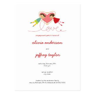 Carte postale d'invitation d'amour de fille de