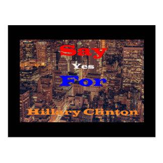 Carte Postale Dites oui pour Hillary Clinton