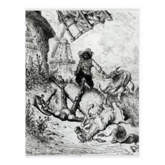 Carte Postale Don don Quichotte et les moulins à vent