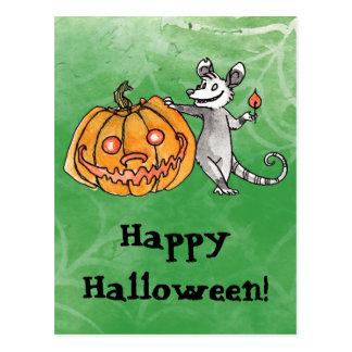Carte postale d'opossum de Jack-o'-lantern