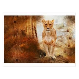 Carte Postale d'or sauvage félin animal de l'Afrique d'Africain