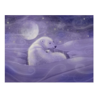 Carte postale douce d'ours blanc d'hiver